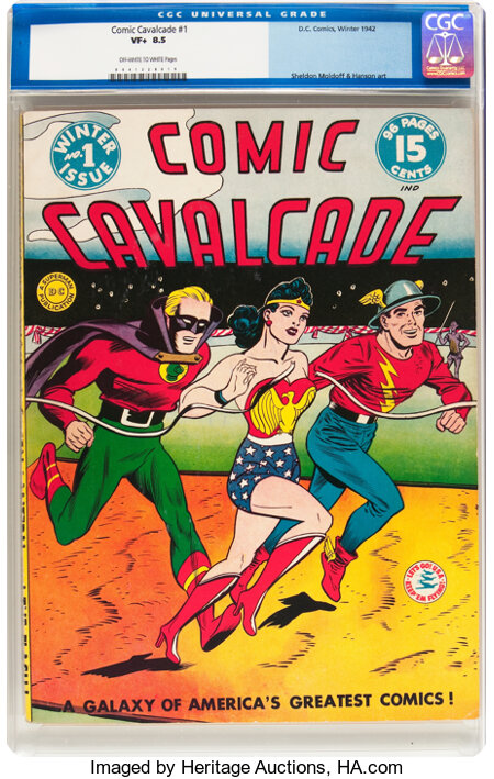 Comic Cavalcade #1 (DC, 1942) CGC VF+ 8.5 Off-white to white pages....