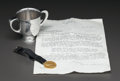 Silver Smalls:Other , A GORHAM SILVER CUP AND GOLD COIN WITH NOTE: HOWARD HEINZ,Providence, Rhode Island, circa 1932. Marks to cup: (... (Total: 3)
