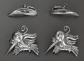 Silver Smalls:Other , A PAIR OF WILLIAM SPRATLING SILVER BIRD PINS AND A PAIR OF RICSILVER EARRINGS, Taxco, Mexico, circa 1940. Marks: SPRATLIN...(Total: 4 )
