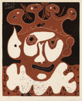 Prints, PABLO PICASSO (Spanish, 1881-1973). Tête de Buffon (from Carnaval), 1965. Linocut in colors on Arches paper. 25 x 20...