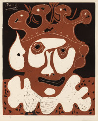 PABLO PICASSO (Spanish, 1881-1973) Tête de Buffon (from Carnaval), 1965 Linocut in colors