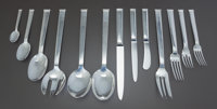 A ONE HUNDRED TWENTY-FOUR PIECE CHRISTOFLE COMMODORE PATTERN FRENCH SILVER FLATWARE SERVICE