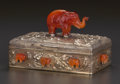 Silver Holloware, American:Boxes, A BENSABOTT SILVER GILT AND CARNELIAN BOX, Chicago, Illinois, circa1920. Marks: BENSABOTT SHOP, CHICAGO, STERLING. 3-3/...