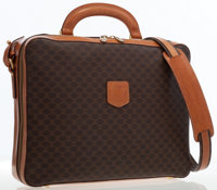 Celine Brown Monogram Canvas Satchel Bag