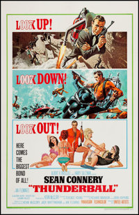 "Thunderball (United Artists, 1965). One Sheet (27"" X 41.5""). James Bond"