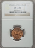 German East Africa, German East Africa: German Colony Heller 1908-J MS66 Red NGC,...