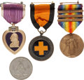 Military & Patriotic:WWI, WWI Purple Heart Named to Noted Numismatist Leonel C. Panosh.... (Total: 4 )