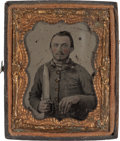 Photography:Ambrotypes, 1/9th Plate Ambrotype of a Confederate Soldier Holding a LargeD-Guard Bowie Knife....