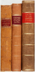 Books:Americana & American History, United States: THE LAWS OF THE UNITED STATES OF AMERICA. INTHREE VOLUMES. Philadelphia: Folwell, 1796. pp 494, ... (Total: 3Items)