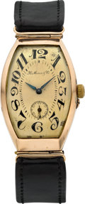 Timepieces:Wristwatch, H. Moser & Co. Early Rose Gold Russian Market Tonneau Watch,circa 1920's. ...