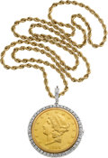 Timepieces:Pendant , Rolex Rare & Fine $20 Gold Coin Watch With Diamonds & Neck Chain. ...