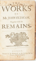 Books:Literature Pre-1900, Oldham, John. The Works...Together with his Remains:[Containing:]. Satyrs Upon The Jesuits: Written in the Ye...