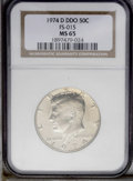 Kennedy Half Dollars: , 1974-D 50C Double Die Obverse MS65 NGC. FS-015. NGC Census:(65/47). PCGS Population (61/166). Mintage: 79,066,304. Numisme...