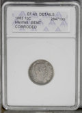 Coins of Hawaii: , 1883 10C Hawaii --Bent, Corroded--ANACS. XF40 Details. NGC Census:(22/164). PCGS Population (33/273). Mintage: 250,000. (#...