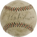 Autographs:Baseballs, Early 1930's Babe Ruth Single Signed Baseball. The sweetest sweetspot signature of all appears between the red and black s...