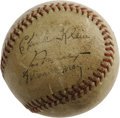 Autographs:Baseballs, Circa 1940's Chuck Klein Signed Baseball. As if it understood the rarity and importance of the autograph, this well-worn ap...