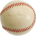 "Autographs:Baseballs, 1940's Branch Rickey ""Single Signed"" Baseball. This tough Hall ofFamer broke into the Bigs in 1905 as a twenty-two year ol..."