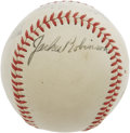 Autographs:Baseballs, 1950's Jackie Robinson Single Signed Baseball. While most baseballhistorians would crown the Babe as the most important fi...