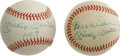 Autographs:Baseballs, Mickey Mantle Special Single Signed Baseballs Lot of 2. Not justyour every day Mantle singles here. Pair of OAL (Brown) b...(Total: 2 Items)