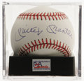 Autographs:Baseballs, Mickey Mantle Single Signed Baseball, PSA Mint 9. One of thehottest commodities in the sports market is the Mantle single,...
