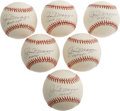 Autographs:Baseballs, Joe DiMaggio HOF 55 Single Signed Baseballs Lot of 6. Though 1955was a disappointing year for his former Yankee squad, who...(Total: 6 Items)