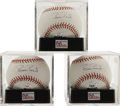 Autographs:Baseballs, Barry Bonds Single Signed Baseballs Lot of 3, All PSA Gem Mint 10.Trio of Bonds singles, each affixed with his personal ho... (Total:3 Items)