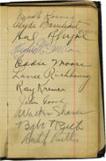 Autographs:Others, 1920's Baseball Autograph Book Signed by Ruth, Gehrig & More.Charming little book was once the proud possession of a young...