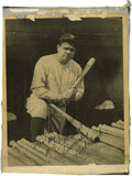 Autographs:Photos, 1930's Babe Ruth Signed Photograph. The Bambino poses with thetools of his trade in this classic image of baseball's great...