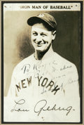 Autographs:Post Cards, 1930's Lou Gehrig Signed Postcard. It's the image of the Yankee great as we like to remember him, a Yankee cap perched high...