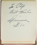 Autographs:Others, 1938 Baseball Autograph Album with Two Jimmie Foxx Signatures, HerbPennock. Intriguing little volume contains a scattering...