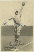 "Autographs:Sports Cards, Jimmie Foxx Signed 1939 Goudey Premium (R303-B). This oversized (4.75x7.25"") premium serves as the perfect home for a large..."