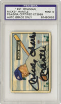 """Autographs:Sports Cards, Mickey Charles Mantle Signed 1951 Bowman #253, Autograph Grade PSAMint 9. What better home for a strong black """"full name"""" ..."""