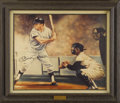 Autographs:Others, Mickey Mantle Signed Giclee. Early print on canvas by famed sportsartist Robert Stephen Simon is reminiscent of Norman Roc...