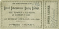 Boxing Collectibles:Memorabilia, 1892 Plimmer vs. Hogan Full Ticket. On January 12, 1892, at the Long Island Sporting Club, future English bantamweight cham...