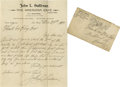 Boxing Collectibles:Autographs, 1899 John L. Sullivan Handwritten Letter. Straight from thebattering ram that was this bare knuckle Champ's right hand com...
