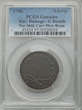 1786 COPPER New Jersey Copper, Narrow Shield, Curved Beam -- Environmental Damage -- PCGS Genuine. Good Details. NGC Cen...