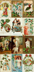 Miscellaneous:Postcards, [Postcards] Group of Twenty-Three Christmas Postcards. Circa 1910.Some used. A bit of soiling and rubbing. Very good. Fro...