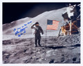 Autographs:Celebrities, Dave Scott Signed Lunar Surface Color Photo....