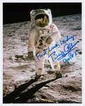 Autographs:Celebrities, Buzz Aldrin Signed Lunar Surface Color Photo....