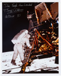 Autographs:Celebrities, Buzz Aldrin Signed Lunar Surface Color Photo. ...