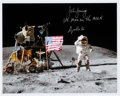 """Autographs:Celebrities, John Young Signed Lunar Surface """"Leaping Salute"""" Color Photo...."""