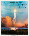 Autographs:Celebrities, Frank Borman Signed Apollo 8 Launch Color Photo....
