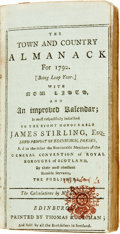 Books:Americana & American History, [Almanac]. James Stirling. The Town and Country Almanack for1792. [Being Leap Year.] With New Lists, and an Improved Ka...