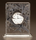 Glass, R. LALIQUE CLEAR GLASS AND BLACK ENAMEL CINQ HIRONDELLES CLOCK . Circa 1920. Engraved R. Lalique, France. ...