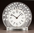 Glass, R. LALIQUE FROSTED GLASS, WHITE AND BLACK ENAMEL MARLY CLOCK. Circa 1931. Stenciled R. LALIQUE. M p. 374, No. ...