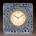 Art Glass:Lalique, R. LALIQUE CLEAR GLASS MUGUET CLOCK WITH BLUE PATINA. Circa1926. Molded R. LALIQUE. M p. 378, No. 768. Ht. ...
