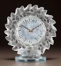 Glass, R. LALIQUE CLEAR AND FROSTED GLASS ROITELETS CLOCK. Circa 1931. Stenciled R. LALIQUE. M p. 373, No. 731. Ht....