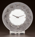 Glass, R. LALIQUE CLEAR AND FROSTED GLASS ROSSIGNOLS CLOCK. Circa 1931. Stenciled R. LALIQUE, FRANCE. M p. 374, No. 7...