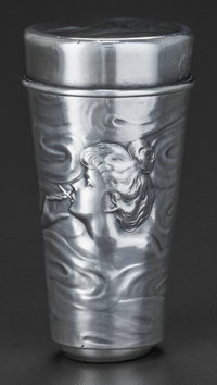 AN AMERICAN SILVER MATCH HOLDER, ATTRIBUTED TO UNGER BROTHERS, Newark, New Jersey, circa 1900 2-1/2 inches high x