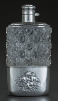 Silver Holloware, American:Flasks, AN UNGER BROTHERS LOVE'S DREAM PATTERN SILVER AND GLASSFLASK, Newark, New Jersey, circa 1900. Marks: UB (in...